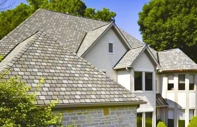 A house with grey shingles